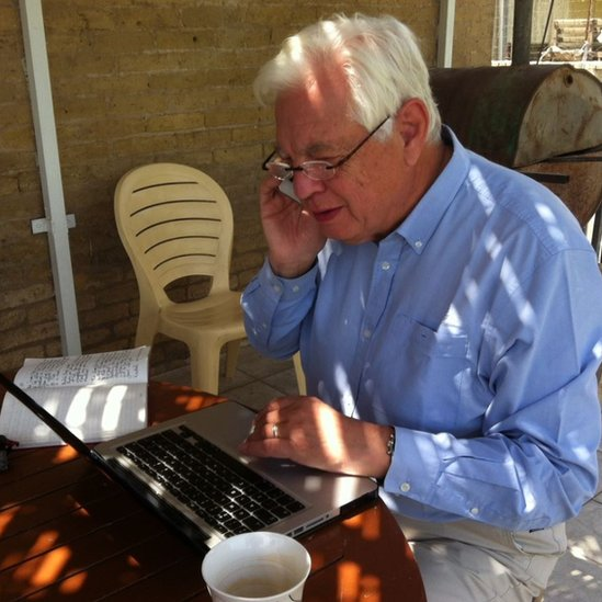 John Simpson BBC World Affairs editor during the Twitter Q&A in Baghdad