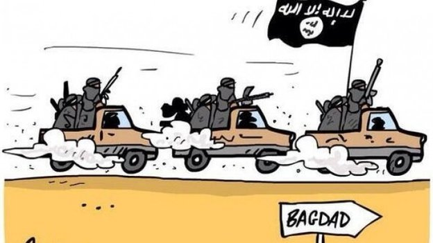 This cartoon was posted on the @ISIS_Media_Hub Twitter account