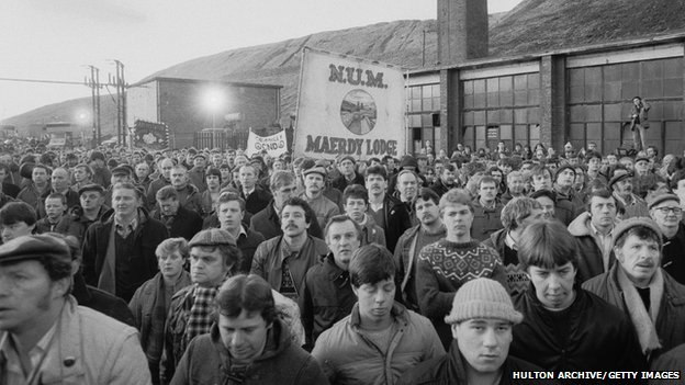 Miners from Maerdy at meeting in 1985