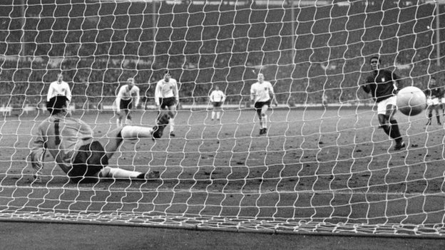 England playing in the World Cup semi-final at Wembley 1966