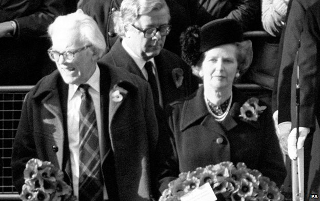 Michael Foot and Margaret Thatcher at Remembrance Sunday ceremony 1981