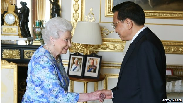 Queen Elizabeth II receives Chinese premier Li Keqiang at Windsor Castle, during their visit to the UK on 17 June 2014 in Windsor, England.