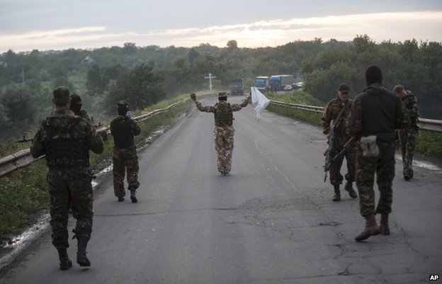 Pro-Russian rebels observe a truce in Luhansk (18 June)
