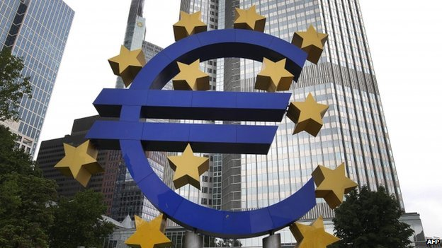 Euro logo at ECB headquarters in Frankfurt