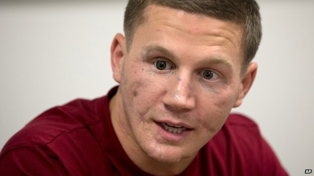 Marine Cpl William Kyle Carpenter appeared in Arlington, Virginia, on 13 May 2014