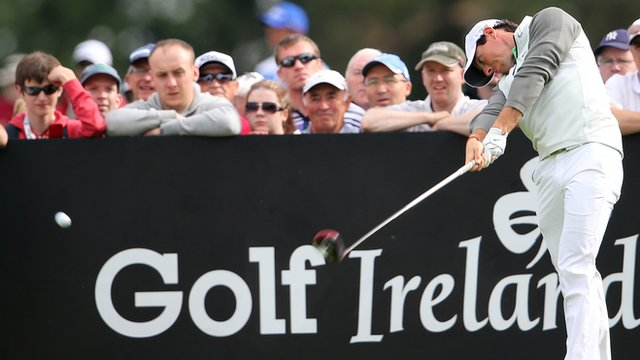 McIlroy tees off on the 15th at Fota Island