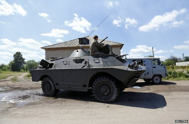 A rebel armoured car in Siversk, near Krasnyy Liman, 19 June