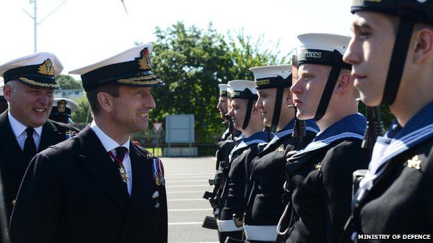 Commanding Officer, Cdr Hywel Griffiths and Rear Admiral Matthew Parr inspect the crew