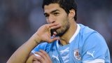 Uruguay's Luis Suarez celebrates after scoring against France during their friendly match at Centenario Stadium in Montevideo on June 5, 2013.