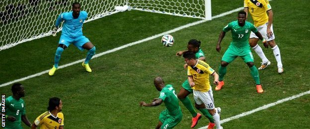 Colombia's James Rodriguez puts his side in front against Ivory Coast