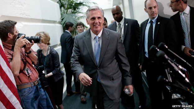 Congressman Kevin McCarthy (centre) appeared in Washington on 18 June 2014
