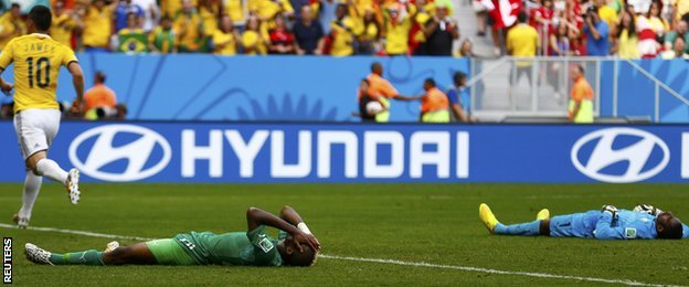 Ivory Coast are left dejected after letting in a second against Colombia's