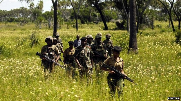 Kenyan security forces patrol villages near Mpeketoni after unidentified gunmen attacked the town - 17 June 2014