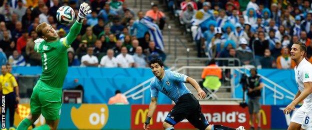 World Cup: England v Uruguay - Luis Suarez puts Uruguay 1-0 ahead