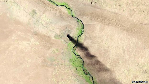 A satellite view shows of the Baiji oil refinery on 18 June