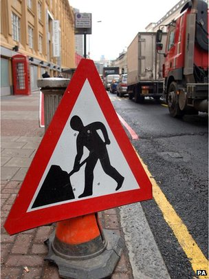 A roadworks road sign