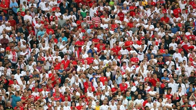England supporters at the World Cup Group D match between Uruguay and England at Arena de Sao Paulo in Brazil (19 June 2014)