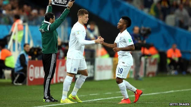 Raheem Sterling (left) is substituted by Ross Barkley
