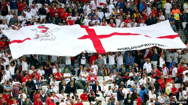 An England flag is seen on the stands during the World Cup game against Uruguay at the Arena de Sao Paulo (19 June 2014)