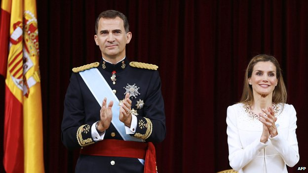 Spain's King Felipe VI and Queen Letizia at the Congress of Deputies in Madrid after swearing-in ceremony on 19 June 2014