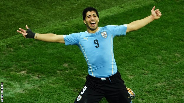 Suarez celebrates his winning goal.
