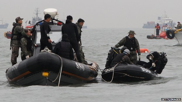 Divers with the South Korean Navy search for missing passengers at the site of the sunken ferry off the coast of Jindo Island on 19 April, 2014 in Jindo-gun, South Korea
