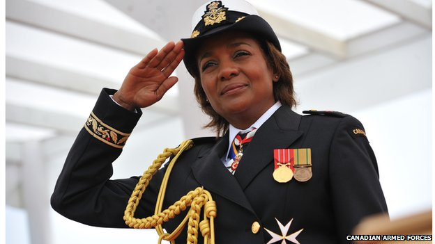 Former Governor General Michaëlle Jean in the naval dress uniform of Commander-in-Chief of Canada in 2009