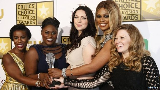 (l-r) Orange is the New Black stars: Uzo Aduba, Danielle Brooks, Laura Prepon, Laverne Cox and Natasha Lyonne