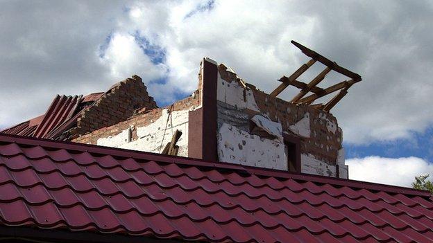 Damaged restaurant roof