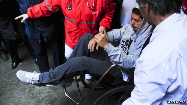 Luis Suarez after knee surgery in May