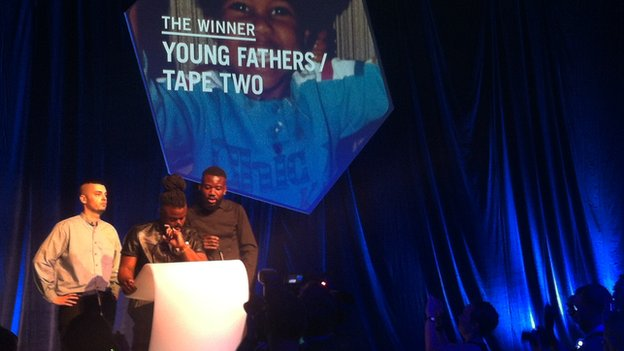 Young Fathers receive the Scottish Album of the Year award for Tape Two