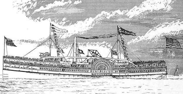 An illustration by Samuel Ward Stanton of the doomed General Slocum