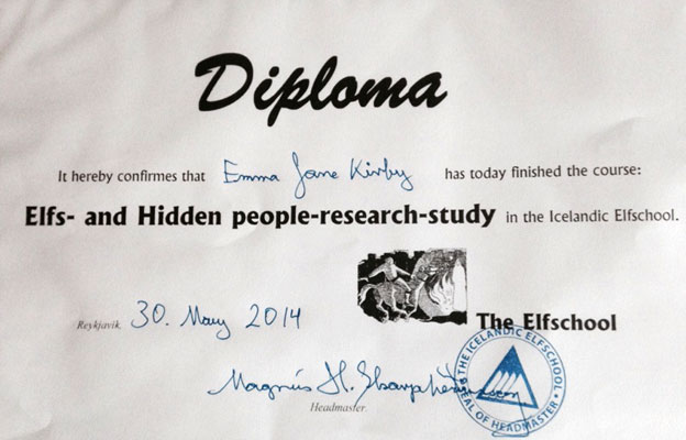 Emma Jane's diploma from elf school