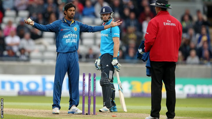 Sri Lanka's Sachithra Senanayake runs out England's Jos Buttler