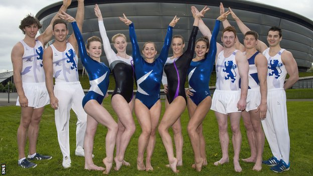 The Scotland artistic gymnastics team: Liam Davie, Daniel Keatings, Erin McLachlan, Cara Kennedy, Amy Regan, Emma White, Carly Smith, Daniel Purvis, Frank Baines, Adam Cox