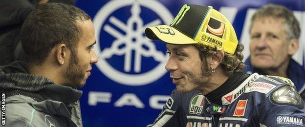 Lewis Hamilton and Valentino Rossi