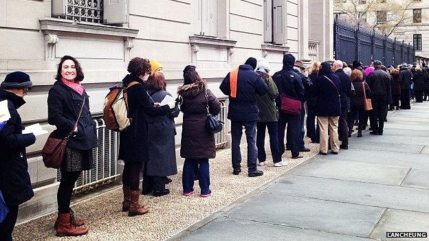 Queues outside the Frick Collection in New York