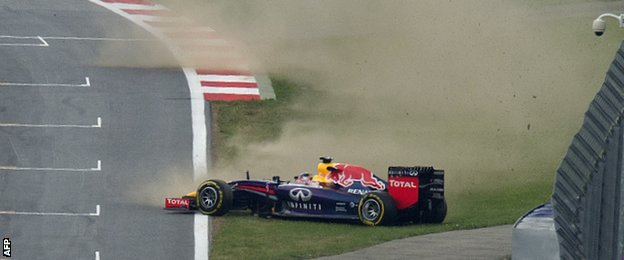 Sebastian Vettel in a spin
