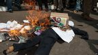 A burning effigy of Kenyan opposition leader Raila Odinga in Nairobi on 18 June 2014