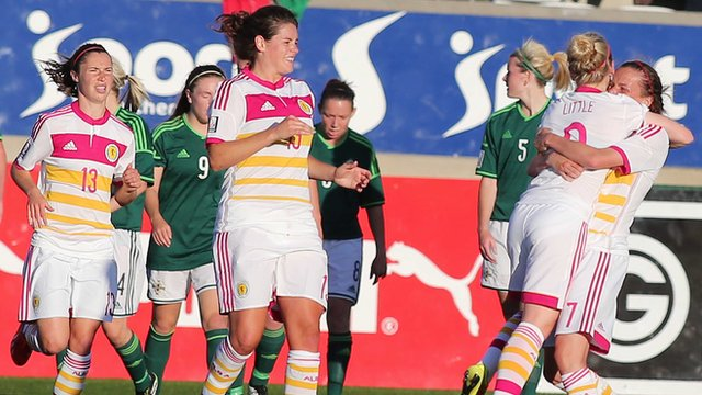 Scotland celebrate after Kim Little had given them the lead in the World Cup qualifier against Northern Ireland