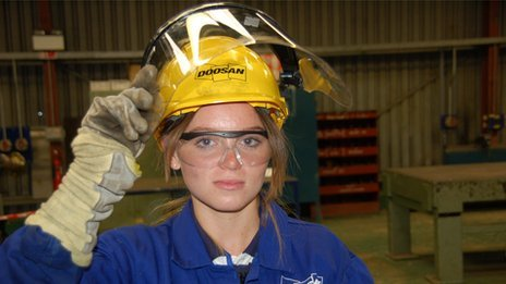 Girl in protective gear