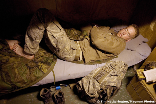 Tim Hetherington's photograph of a sleeping soldier in Afghanistan