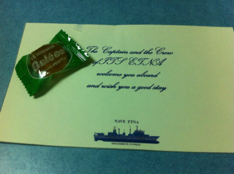 A chocolate given to the BBC's Matthew Price when it went on a trip with the Italian Navy - 20 June 2014