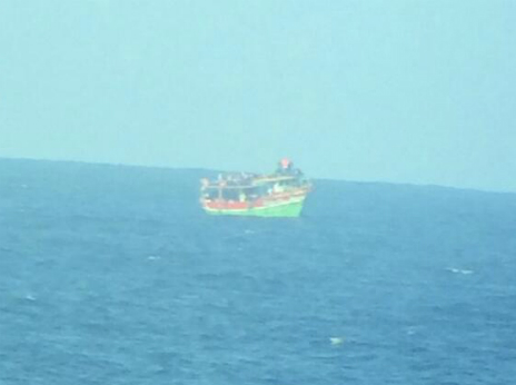 A boat carrying migrants in the Mediterranean - 20 June 2014