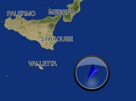 Map showing location of Italian navy vessel during rescue operation - 20 June 2014