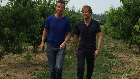 Guido Martinetti and Federico Grom on their farm