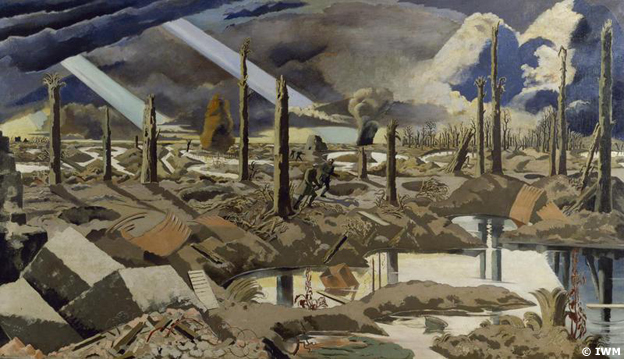 The Menin Road by Paul Nash - A devastated battlefield pocked with rain-filled shell-holes,  IWM (Art.IWM ART 2242)