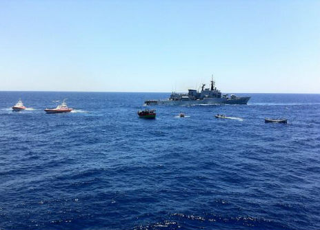 The boats involved in the rescue operation in the middle of the Mediterranean - 20 June 2014