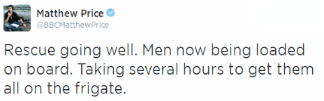Tweet by the BBC's Matthew Price