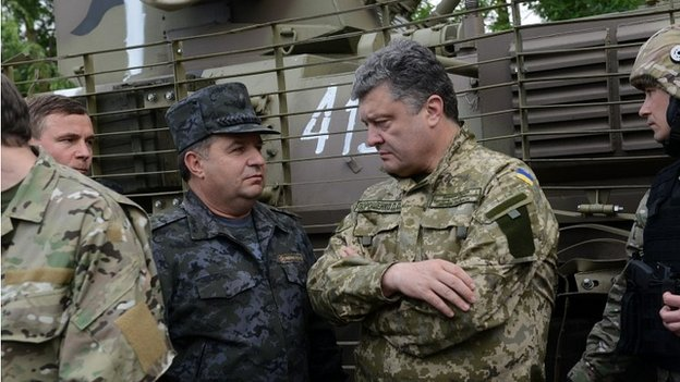 Ukraine's President Petro Poroshenko visiting soldiers in the east of Ukraine - 20 June 2014